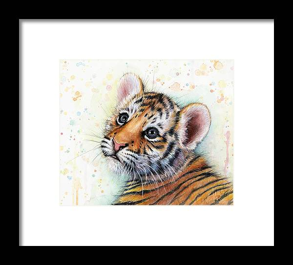 Tiger Framed Print featuring the painting Tiger Cub Watercolor Art by Olga Shvartsur