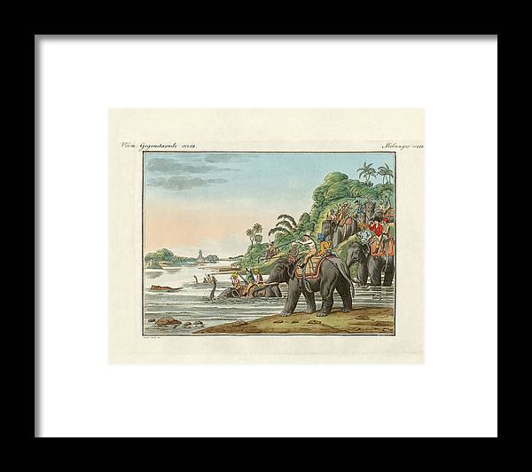Tiger Hunting On An Indian River Framed Print by Splendid Art Prints