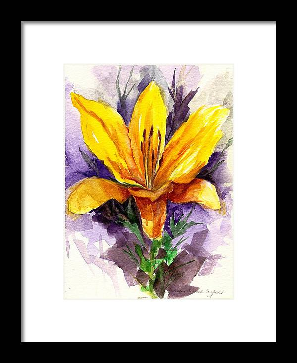 Flower Framed Print featuring the painting Tiger Lily by Ellen Canfield