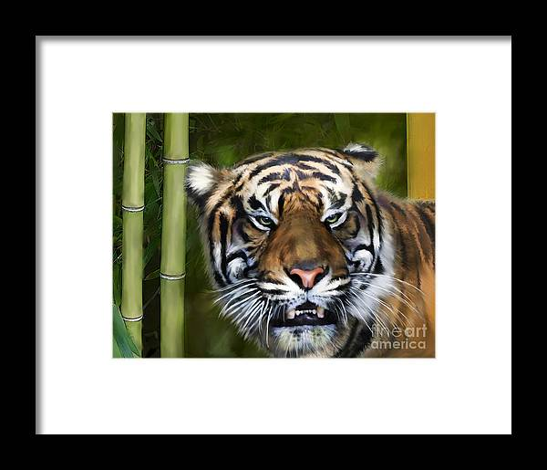 Tiger Framed Print featuring the digital art Tiger by Lisa Redfern