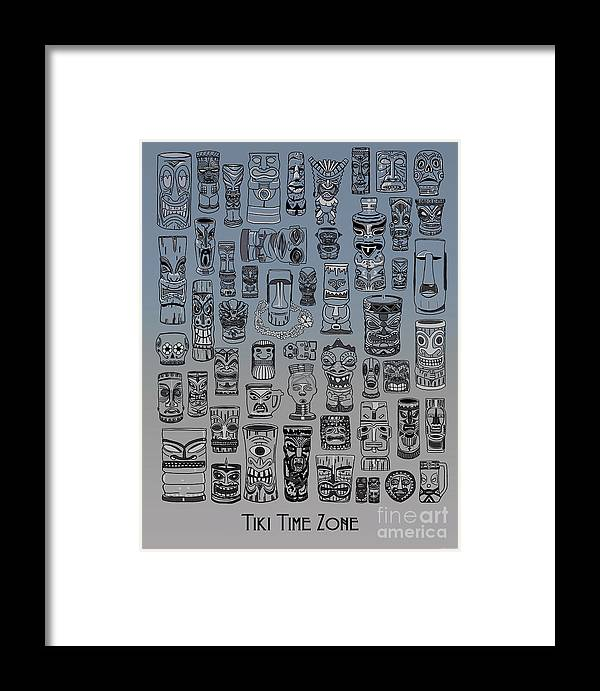 Ancient Relic Framed Print featuring the digital art Tiki Nighttime Zone by Megan Dirsa-DuBois