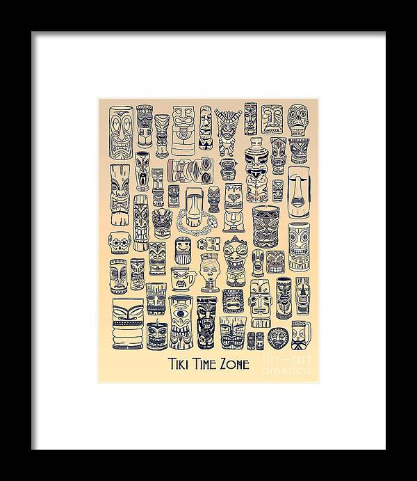 Ancient Relic Framed Print featuring the digital art Tiki Vintage Zone by Megan Dirsa-DuBois