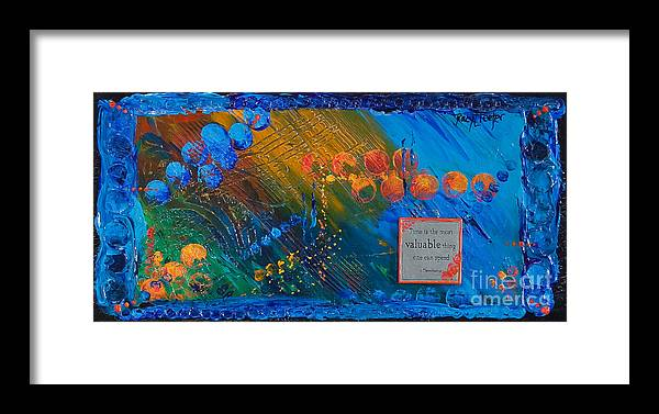 Abstract Framed Print featuring the painting Time Abstract by Tracy L Teeter