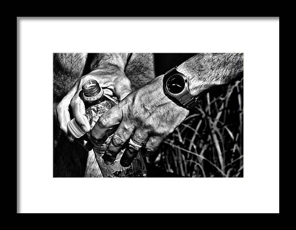 Hands Framed Print featuring the photograph Time For A Break by Karol Livote