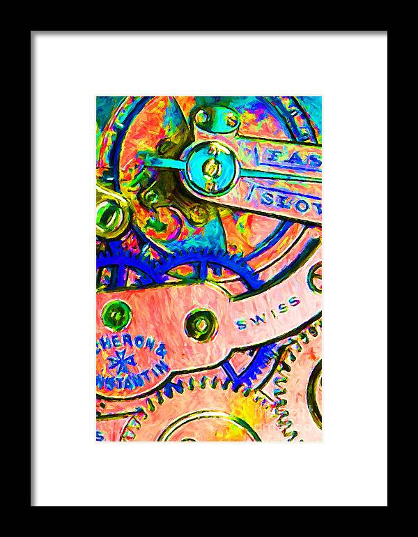 Steampunk Framed Print featuring the photograph Time In Abstract 20130605p180 by Wingsdomain Art and Photography