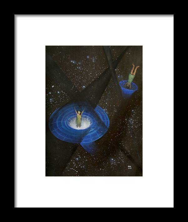 Time Framed Print featuring the painting Time Travel by Min Zou