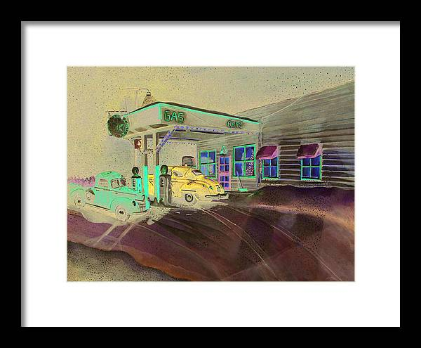 Rick Huotari Framed Print featuring the painting Times Past Gas Station by Rick Huotari