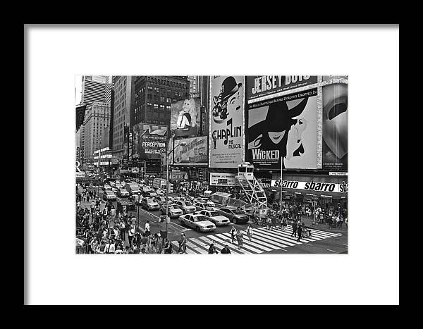 Timessquare Framed Print featuring the photograph Times Square Bw by Galexa Ch