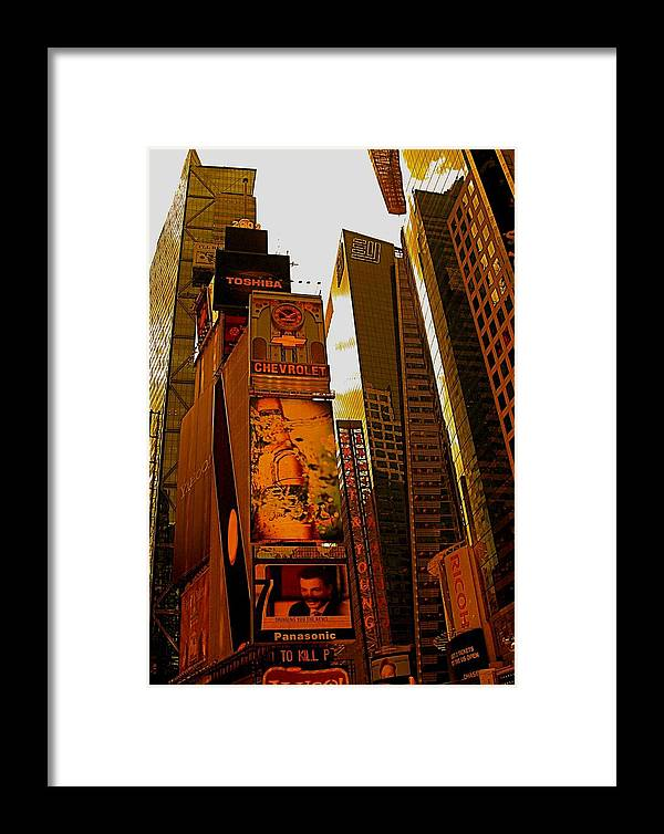 Manhattan Posters And Prints Framed Print featuring the photograph Times Square In Manhattan by Monique's Fine Art