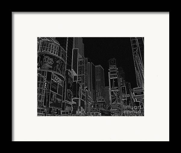 Times Square Framed Print featuring the drawing Times Square Nyc White On Black by Meandering Photography