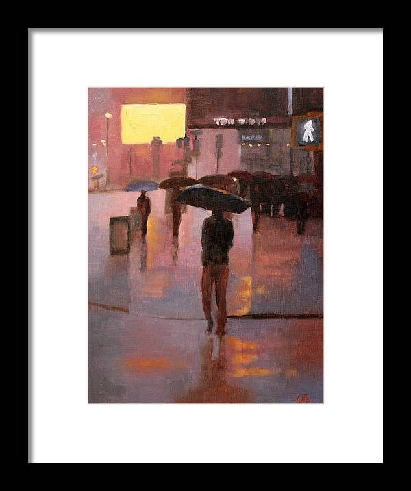 Cityscapes Framed Print featuring the painting Times Square rain by Tate Hamilton