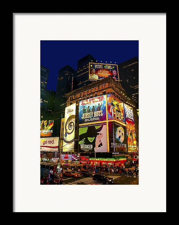 America Framed Print featuring the photograph Times Square by Svetlana Sewell
