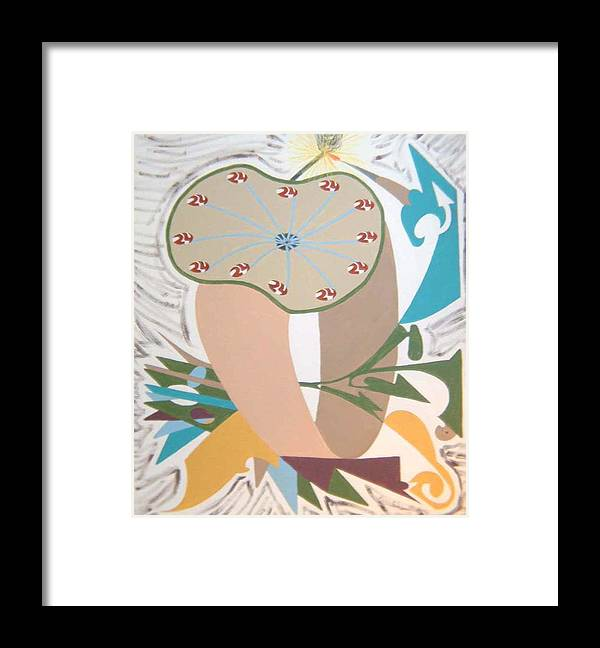 Abstract Framed Print featuring the painting Times up by Dean Stephens