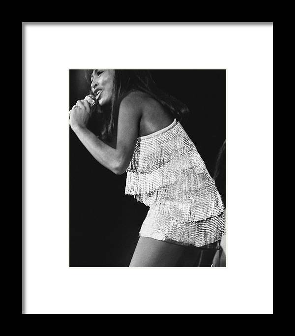 Music Framed Print featuring the photograph Tina Turner On Stage At Madison Square Garden by Jack Robinson