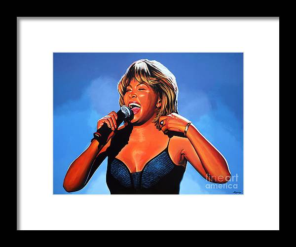 Tina Turner Framed Print featuring the painting Tina Turner Queen of Rock by Paul Meijering
