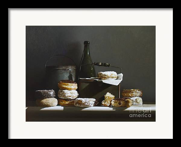 Oil Painting Framed Print featuring the painting Tins And Donuts by Larry Preston