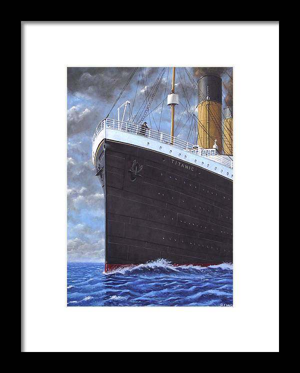 Titanic Framed Print featuring the painting Titanic At Sea Full Speed Ahead by Martin Davey