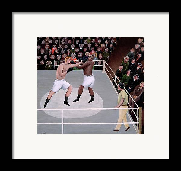 Spectator; Boxer; Ring; Punch; Referee Framed Print featuring the painting Title Fight by Jerzy Marek