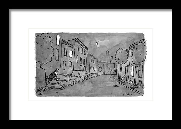 Batman Framed Print featuring the drawing Title: Slow Night by Jason Patterson