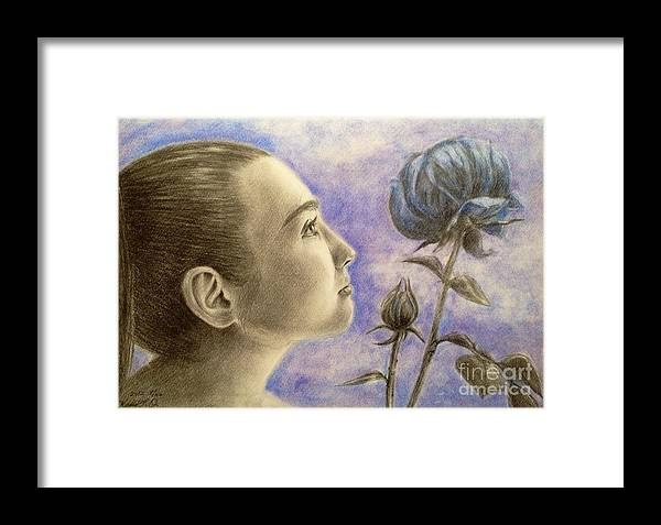 Young Girl Looking Bud And Flower Framed Print featuring the drawing To Flower From Bud by Keiko Olds