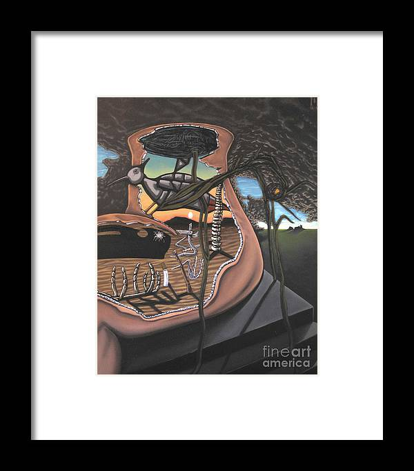 Surreal Framed Print featuring the painting To Kick A Sleeping Dog by Mack Galixtar