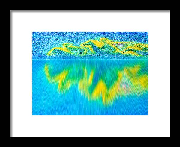 Space Framed Print featuring the digital art To West Horses With Reflection by Algirdas Lukas