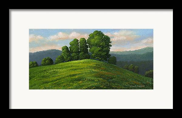 Landscape Framed Print featuring the painting Toboggan Hill by Frank Wilson
