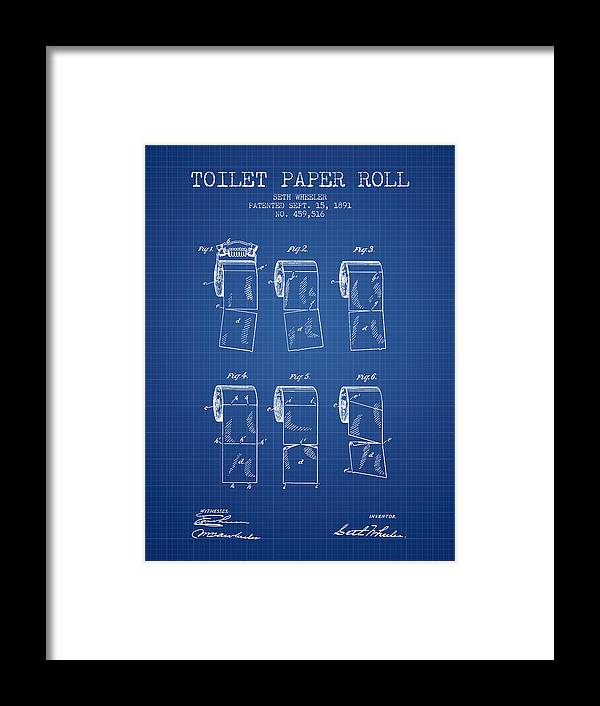 Toilet paper roll patent from 1891 blueprint framed print by toilet paper framed print featuring the digital art toilet paper roll patent from 1891 blueprint malvernweather Image collections