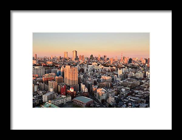 Tokyo Tower Framed Print featuring the photograph Tokyo Cityscape At Sunset by Keiko Iwabuchi