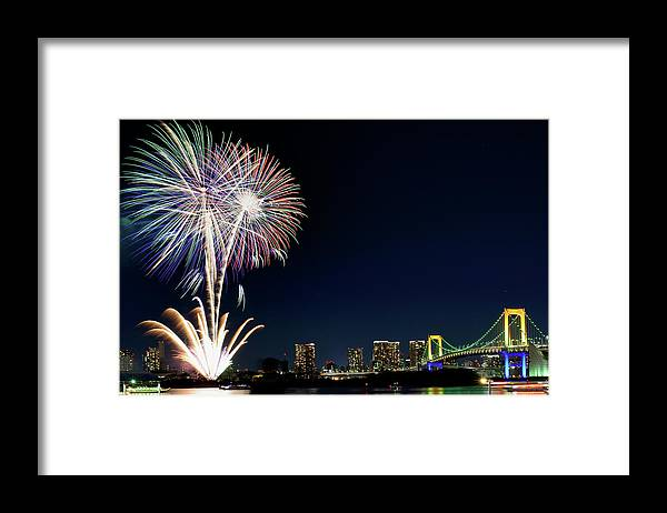 Firework Display Framed Print featuring the photograph Tokyo Fireworks by Vladimir Zakharov