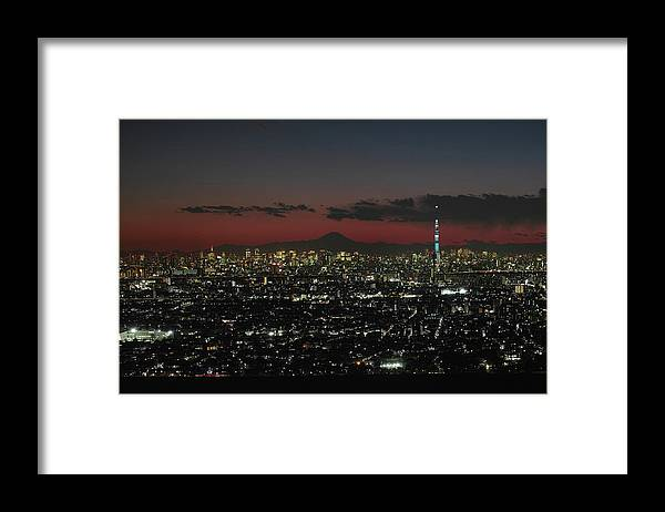 Tokyo Tower Framed Print featuring the photograph Tokyo Skytree, Fuji, And Tokyo Tower by I Love Photo And Apple.