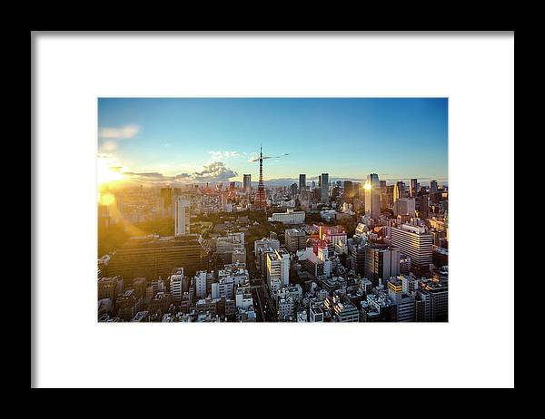 Tokyo Tower Framed Print featuring the photograph Tokyo Tower After Raining by Panithan Fakseemuang