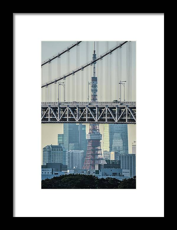 Tokyo Tower Framed Print featuring the photograph Tokyo Tower And Rainbow Bridge by Image Courtesy Trevor Dobson