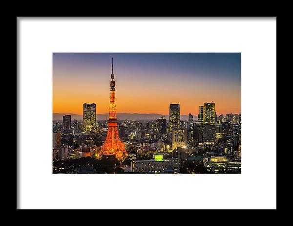 Tokyo Tower Framed Print featuring the photograph Tokyo Tower Skyscrapers Neon Futuristic by Fotovoyager