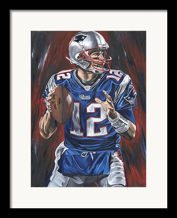 Tom Brady New England Patriots Nfl Quarterback Sports Art David Courson Passing Football Framed Print featuring the painting Tom Brady by David Courson