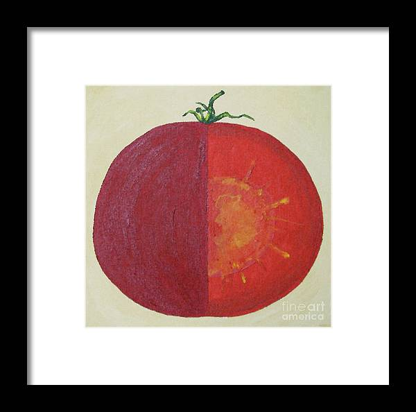Kitchen Art Framed Print featuring the painting Tomato In Two Reds Acrylic On Canvas Board By Dana Carroll by Dana Carroll