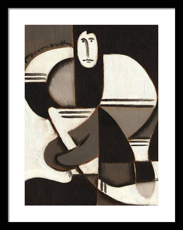 Hockey Framed Print featuring the painting Tommervik Abstract Cubism Hockey Player Art Print by Tommervik