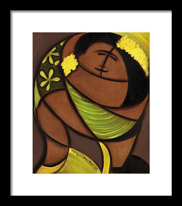 Hawaiian Framed Print featuring the painting Hawaiian couple dancing art print by Tommervik