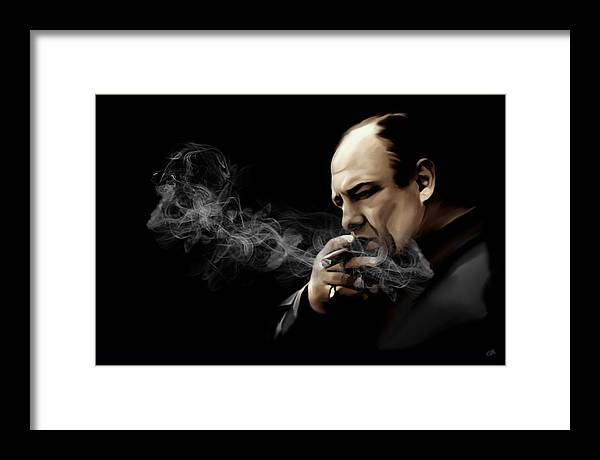 Tony Soprano Framed Print featuring the digital art Tony Soprano by Laurence Adamson