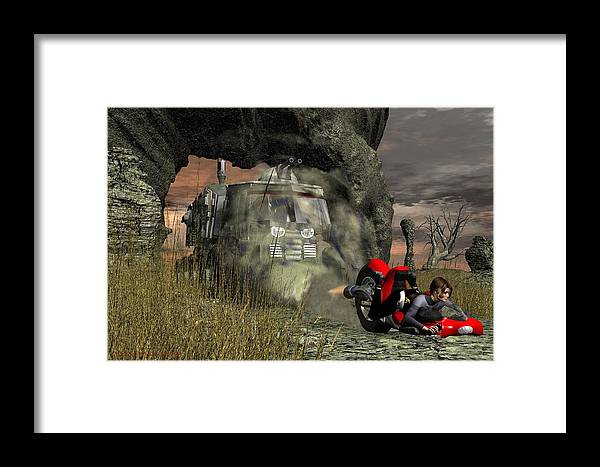 Digital Art Framed Print featuring the digital art Too Close For Comfort by Michael Wimer