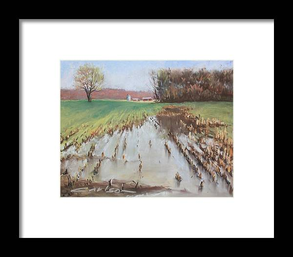 Framed Print featuring the pastel Too Much Rain by Kevin Carlson