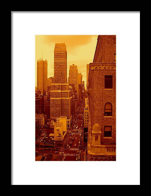 Manhattan Posters And Prints Framed Print featuring the photograph Top Of Manhattan by Monique's Fine Art