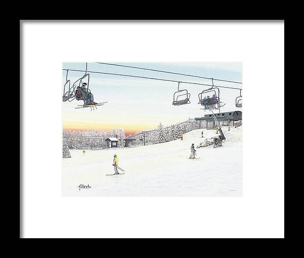 Seven Springs Mountain Resort Framed Print featuring the painting Top Of The Mountain At Seven Springs by Albert Puskaric