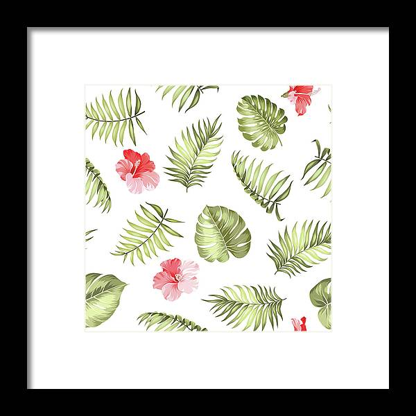 Tropical Rainforest Framed Print featuring the digital art Topical Palm Leaves Pattern by Kotkoa