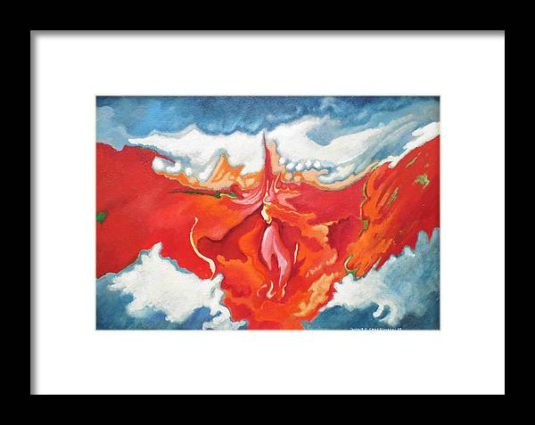 Fire Framed Print featuring the painting Torch Over Gas Plant by Janusz Golebiowski