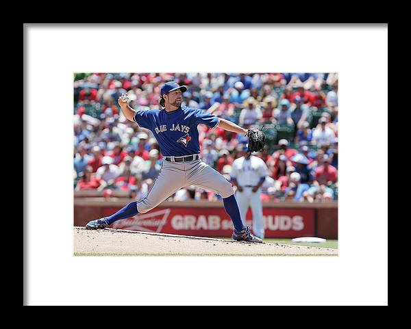 American League Baseball Framed Print featuring the photograph Toronto Blue Jays V Texas Rangers by Brandon Wade