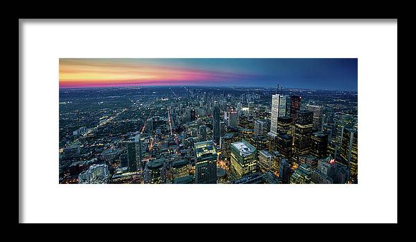 Downtown District Framed Print featuring the photograph Toronto Downtown City At Night by D3sign