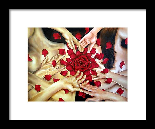 Original Framed Print featuring the painting Touch by Stephanie LeVasseur
