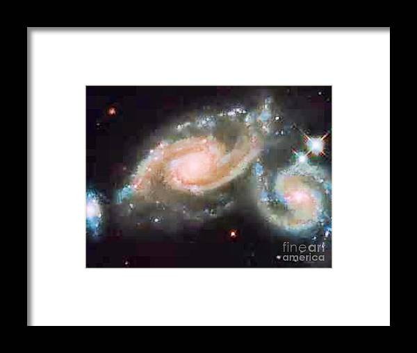 Cosmos Framed Print featuring the digital art Touching Galaxies by Steven Pipella