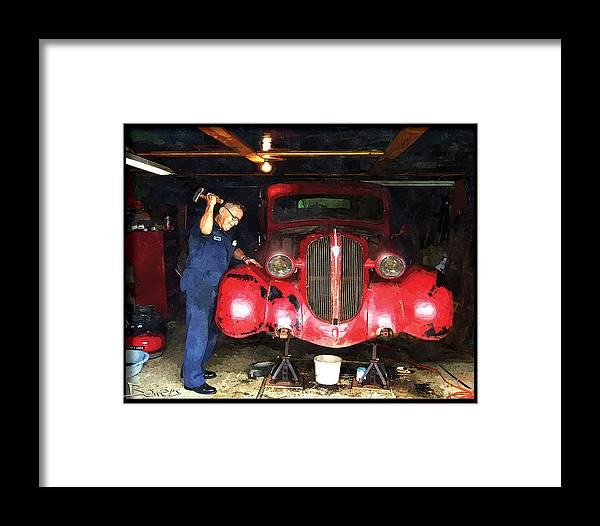 Pick-up Truck Framed Print featuring the painting Tough Love by Mike Bowers